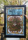 Rare Victorian Leaded Stained Glass SPIDER WEB And FLORAL Window Ship Ok