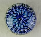 2002 Signed Studio Art Glass Paperweight Central Bubble Multi Colored Spiral