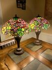 Vintage Tiffany Style Stained Glass Large Table Lamps Duo Bundle of 2