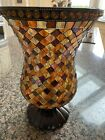 Partylite Red Tone And Gold Mosaic Vase 8 Inches Diameter 12 Inches Height