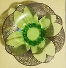 vintage green Glass With Silver Overlay Centerpiece Dish Bowl Large