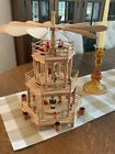 Vtg Christmas Pyramid 3 tier Wooden Nativity Scene Carousel Windmill Candle 15