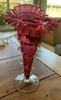 Antique Hand Blown Art Glass Cranberry Jack in the Pulpit Vase With Clear Vines