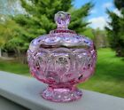 Weishar Moon And Star Glass  HEATHER BLOOM  Pink Compote Candy Dish with Lid