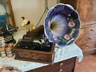 Antique Edison Home Phonograph W Stand  Morning Glory Large Horn We Ship