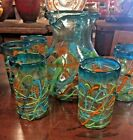 MEXICAN GLASSWARE TURQUOISE SWIRL PITCHER  6 GLASSES SET FREE FREIGHT