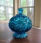 Vintage Smith Glass Moon and Stars Candy Dish with Lid Blue