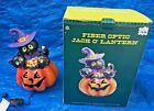 Retired Fiber Optic Jack O Lantern w Cat Witch Hat in Box Halloween Color Change