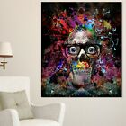 Designart Colorful Human Skull with Glasses Abstract Wall Mini