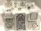 Rubber Embossing Stamps Transparent Clear Acrylic Base Scrap Booking 12 Lot New