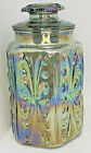 Carnival Glass Blue Iridescent Embossed Canister Rainbow Cookie Jar Vintage