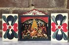 Mexican Vintage Folk Art Nativity Scene Painted Wood Christmas Crche