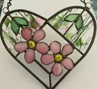 Handcrafted Pink  Green 3 D Desert Rose Stained Glass Heart New