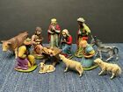 Christmas Nativity Set  12 Pcs  Hand Painted  Resin  Made West Germany