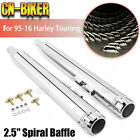 Chrome 35 Slip On Mufflers Exhaust W Spiral Baffle For Harley Touring 95 16