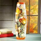 Autumn Maple Leaf Fall Harvest Glass Table Accent Sparkling Hurricane Light 11H