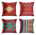 ArtSocket Set of 4 Throw Pillow Covers South Southwest Western Tribal Red Native