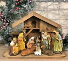 Complete Wooden Stable Nativity Scene with Large Fixed Figures