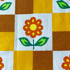 1m 29CM 1960s 1970s VINTAGE COTTON FABRIC DESIGN OF FUNKY FLOWERS AND SQUARES