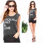 CHASER Women Graphic tee MUscle Burnout tank top Gray medium tequila salt lime