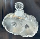 Lalique Deux Fleurs Two Flowers Frosted Crystal Perfume Bottle with chip in rim