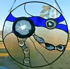 Handcrafted Round Cobalt Blue Stained Glass with Brazilian Agates New