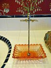 Rose Tiente Amberina Baccarat Toothbrush Holder SWIRL FRENCH GLASS Stand Vintage