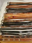 LOT OF 20 LEATHER WESTERN BRAIDED FASHION BELTS VINTAGE  CONTEMPORARY
