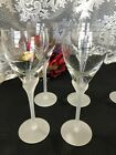 Set of 4 Towle Antique Satin Frosted Stem Wine Goblets 8 3 4