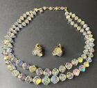 Vintage AUSTRIAN Crystal Glass 2 Strand Necklace  Earrings Beautiful