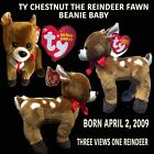 TY CHESTNUT THE REINDEER FAWN BEANIE BABY BORN APR. 3,2009 RETIRED WITH ALL TAGS