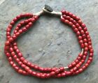 1954 One Pice Coin ANTIQUE TIBETAN NEPAL GLASS RED CORAL SHERPA BEAD NECKLACE