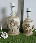 Large  Small Lamp Bases By Milton Pottery Scotland Embossed Floral Pattern