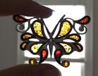 HUGE VINTAGE STERLING SILVER AMBER BUTTERFLY PENDANT STAINED GLASS OVER 225 IN