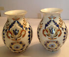 """Vintage Zsolnay Hungary pair painted gilt porcelain 5"""" vases"""