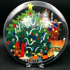 Peggy Karr Christmas Tree Platter Plate Fused Glass Holiday 14 Inch Bear Train