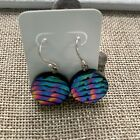 Dichroic Fused Glass Teal Blue Pink Rainbow Line Circle Sterling Silver Earrings