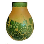 1920s DEGUE Art Deco French Cameo Etched Glass Vase Green  Yellow 55 Tall