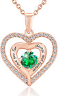 Forever Love Heart Women Necklace Cubic Zirconia Rose Gold Birth