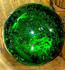 Vintage Large Hand Blown Controlled Bubbles Emerald Green Art Glass Paperweight