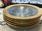 Set of 6 Elegant Gold Encrusted Rose Swag Glass Luncheon Plates 8 1 8