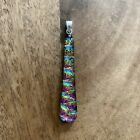 NEW Dichroic Glass Foil Abstract Rainbow Pink Blue Long Sterling Silver Pendant