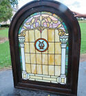 ANTIQUE ARCH STAINED GLASS WINDOW WITH HARP ca 1880s