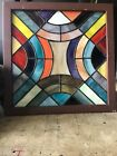 Vintage Multi Color Leaded STAINED GLASS Panel in WOOD FRAME 135 Arts Crafts