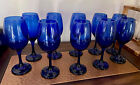 set of 10 Cobalt blue Glass wine glasses or water Regal And Gorgeous
