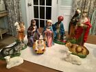 11 Pc Vintage Paper Mache Nativity Large 12 Scale Handpainted Italy