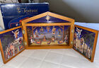 Fontanini Nativity Advent Calendar Complete Set Wooden Stable Ornaments with Box