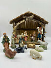 Vintage Hand Painted Nativity Set Made in Italy 15 Pieces With Stable