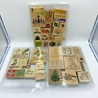 Lot of 46 Wood Rubber Stamps Christmas Fall Halloween Easter Sentiments Phrases