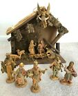 FONTANINI Depose Nativity Set 14 Pieces 5 Figures Stable Italy Vintage
